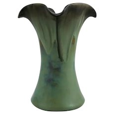 "Fulper Arts & Crafts 7"" Vase With Loosely Ruffled Rim c1909-1917 in Rich Flowing Glaze"