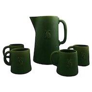Cambridge Pitcher and 4 Mugs in Matte Green Crystalline Glaze Monogrammed Acorn Marks