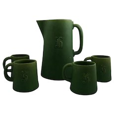 Cambridge Pitcher and 4 Mugs in Matte Green Crystalline Glaze Monogrammed Acorn Marks
