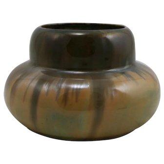 """Fulper 3.75"""" x 6"""" Urn/Vase 1909-1917 In Cat's Eye Flambe Glazes Mint"""