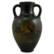 "French Hippolyte Boulenger Choisy-Le-Roi 8"" Vase With Barnyard Scene c1890s"