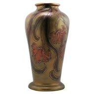 "Swastika Keramos 13"" Vase By John Lessell W/Frilly Blossoms Gold/Magenta Glazes"