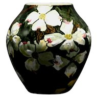 John Bennett NYC Dogwood Blossoms in Snow Vase c1880s Mint
