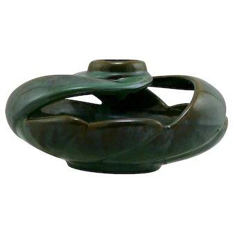 "Fulper 4"" x 8"" Vaz Bowl In Green/Amber Brown Flambe Glazes Mint F429"