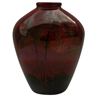 """Weller Lamar 6"""" Vase Scenic Palm Trees/Windmills/Village/Sailboats Waterscape In Red/Black Luster Glazes"""