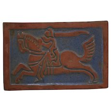 """Mercer Moravian Tile 'Knight on Horseback' 7.5"""" x 5"""" Tile c1920s"""