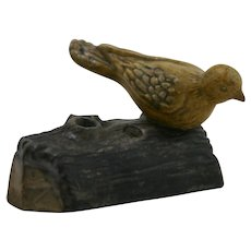 "Fulper 3"" x 5"" Bird On Log Flower Frog Insert In Mustard Matte/Brown Glazes F513"