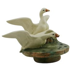 "Weller Muskota 6"" x 8.5"" Winged Geese Flower Frog In Rich Lush Woodsy Glazes"