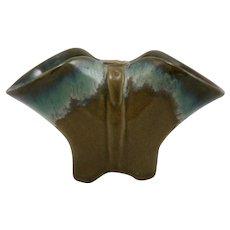 """Fulper 4.25"""" x 7.5"""" Strap Vase in Blue/Green Seafoam Flambe Over Mustard Matte F243"""