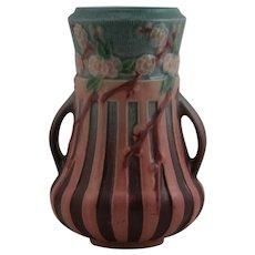 "Roseville Cherry Blossom 8.25"" Vase In Gorgeous Pink/Red Glazes 624-8"