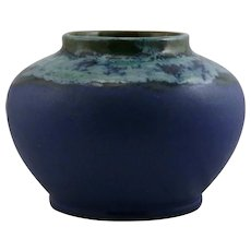 "Fulper 7.5"" x 10.5"" Urn/Vase In Chinese Blue Flambe Over Blue Matte Glazes F462"