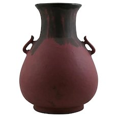 "Fulper 11"" Asian-Inspired Vase Flowing Blue/Purple Over Rose Glaze F327 c1917-1923"