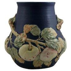 "Weller Baldin 10"" Vase In Organic Red/Yellow Apples In Rich Cobalt Blue Glazes"