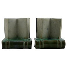 "Fulper 5"" x 4.75"" 'Book' Bookends In Green/White Flambe Glazes F341"