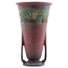 """Roseville Baneda 7.25"""" Vase W/Pumpkins In Pink Mottled Frosted Glazes 590-7"""
