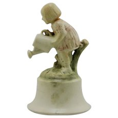 "Weller Muskota 6.5"" Little Girl With Watering Can Ornamental Centerpiece Mint"