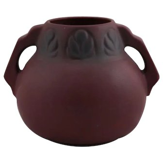 "Van Briggle 7"" Arts & Crafts Vase Stylized Leaves Mulberry Glaze Mint"