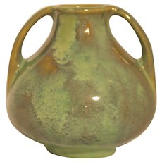 "Fulper 6"" Arts & Crafts Vase C1916-1922 In Frothy Green/Amber Flambe Glaze Mint"