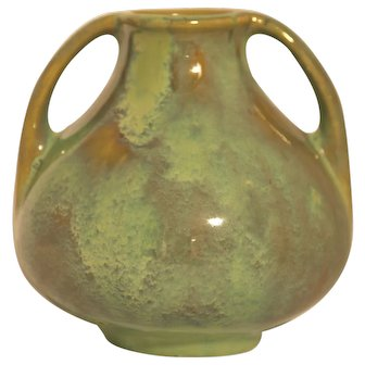 "Fulper 6"" Arts & Crafts Vase C1916-1922 In Frothy Green/Amber Flambe Glaze Mint"