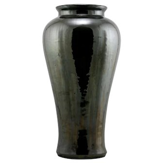 "Fulper 17"" Floor Vase In Mirror Black Glazes c1917-23 Factory Mint F207"