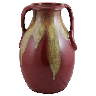 "Weller Turkis 13.5"" Vase Rat-Tail Handles Rich Ruby Red/Yellow/Green Drip Glazes"