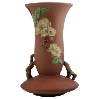 """Roseville Apple Blossom 10.25"""" Vase In Blush Pink Glazes Gorgeous 388-10"""