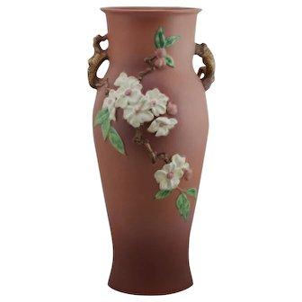 """Roseville Apple Blossom 18.25"""" Floor Vase In Blush Pink Glazes Gorgeous 393-18"""