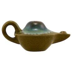 Fulper Aladdin's Lamp c1909-1917 Blue/Green Flambe Over Mustard Matte Mint