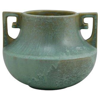 """Fulper 4.25"""" x 6"""" Vase In Green Frosted Seafoam Glazes c1917-27 Factory F526"""