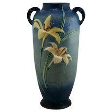"Roseville Zephyr Lily 18.75"" Floor Vase 142-18 In Vivid Bermuda Blue Glazes"