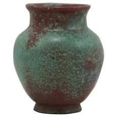 """Gusso Reuss Germany 3.75"""" x 3"""" Vase c1930 in Red/Turquoise Glazes R44"""
