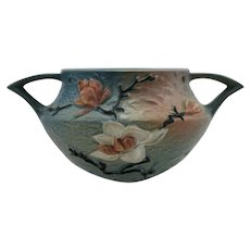 """Roseville Magnolia 5.5"""" x 8"""" Hanging Basket 469-5 in Blue Glazes Mint"""
