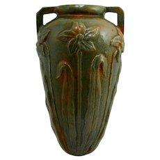 "Mountainside Pottery 8"" Wallpocket In Organic Green Glaze W/Orange/Rust Accents Mint"