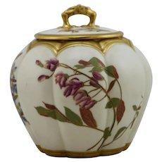 """Royal Worcester Blush Ivory 7"""" Lidded Jar Floral/Gilt By LD c1900 Mint"""