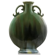 "Fulper 10"" Pilgrim Bottle Vase #529 In Green/Brown/Blue Flambe Mint F201"