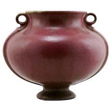 "Fulper 7"" x 8.5"" Pedestaled Vase 1917-1923 In Matte Rose Glazes #594 Mint F301"