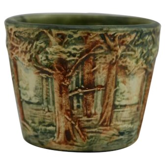 "Weller Forest 4.5"" x 5.5"" Jardiniere Treed Landscape In Organic Rustic Colors"