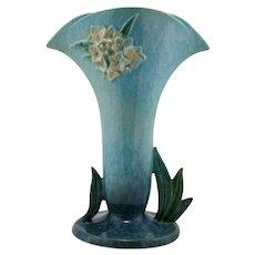 """Roseville Wincraft 12.5"""" Trumpet Vase In Blue Mottled Frost 287-12"""
