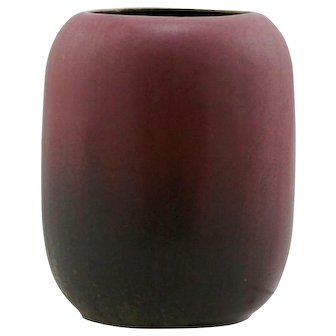 "Fulper 5"" Cylinder Vase In Deep Rose Over Brown/Mocha Matte Glazes Mint F663"