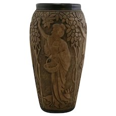 """Weller Dechiwo 12"""" Vase With Women Picking Apples Rare, Early Line"""