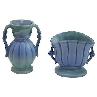 Stangl Miniature Vase Pair in Twilight Blue Glaze Mint