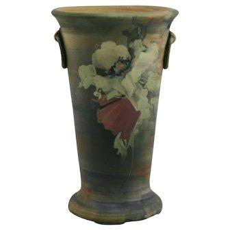 """Weller Copra 10.5"""" Rustic Organic Vase With Poppies Loop Handles"""