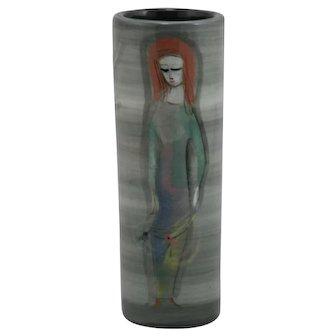 "Polia Pillin 7.25"" Mid-Century Modern Vase Woman/Birds/Dancer in Gray/White Mint"