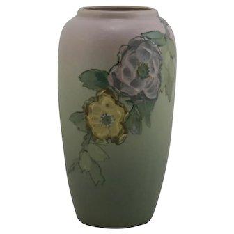 """Weller Hudson 9"""" Vase By Jean Hunter Wild Rose-Like Blossoms In Thick Slip c1920s"""