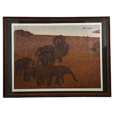 Toshi Yoshida (1911-1995) 'Elephants' from the Series 'Asian Collection'