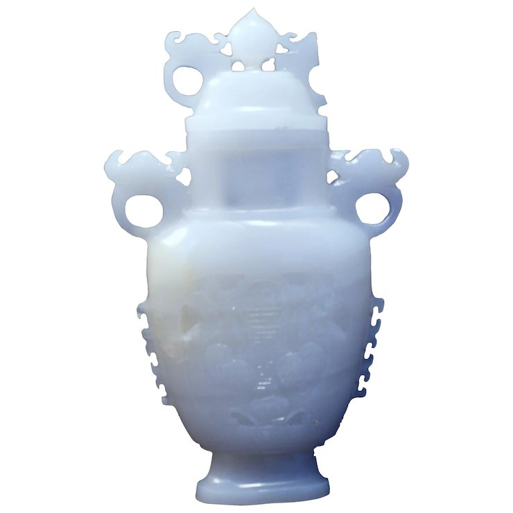 Fantastic Carved Chinese White Fat Jade Carved Vase Cover Sold