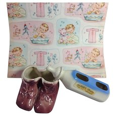 1950s Welcome Baby Florist Ceramic Planters + Vintage Baby Gift Wrap