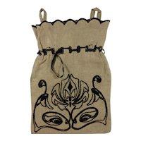 Vintage Linen Drawstring Purse