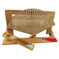 Made in Hong Kong Pierced Wooden Folding Fan