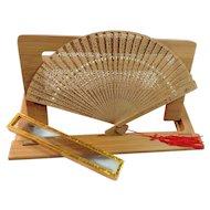 Made in Hong Kong Pierced Wooden Folding Fan